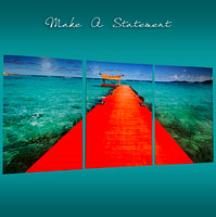 Red Dock Triptych (on metal)